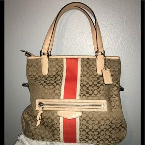 Coach bag orange stripe